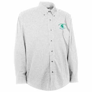 Michigan State Mens Esteem Check Pattern Button Down Dress Shirt (Color: White) - Large