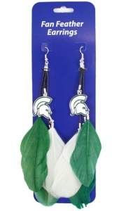 Michigan State Feather Earrings