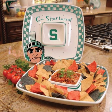 Michigan State Gameday Ceramic Chip and Dip Platter