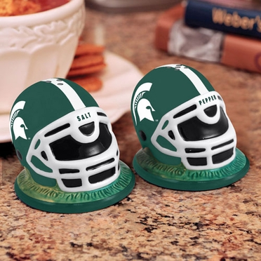 Michigan State Helmet Ceramic Salt and Pepper Shakers