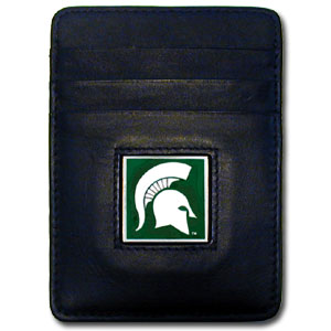 Michigan State Leather Money Clip (F)