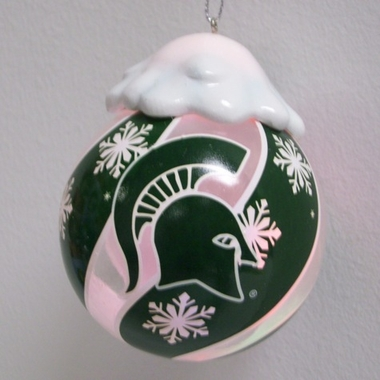 Michigan State Light Up Glass Ball Ornament