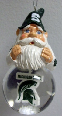 Michigan State Light Up Gnome Snow Globe Ornament