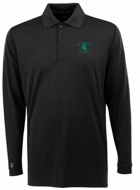 Michigan State Mens Long Sleeve Polo Shirt (Color: Black)