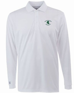 Michigan State Mens Long Sleeve Polo Shirt (Color: White)