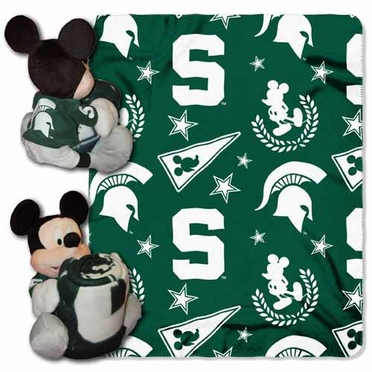 Michigan State Mickey Mouse Pillow / Throw Combo