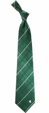 Michigan State Oxford Stripe Woven Silk Necktie