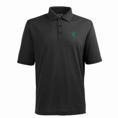 Michigan State Mens Pique Xtra Lite Polo Shirt (Color: Black)