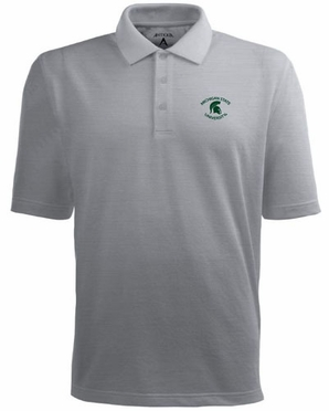 Michigan State Mens Pique Xtra Lite Polo Shirt (Color: Gray)