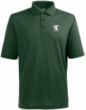 Michigan State Mens Pique Xtra Lite Polo Shirt (Color: Green)