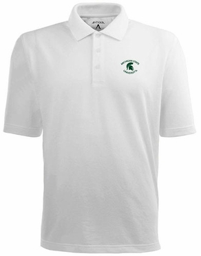Michigan State Mens Pique Xtra Lite Polo Shirt (Color: White)