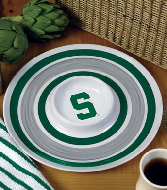 Michigan State Plastic Chip and Dip Plate