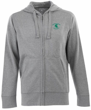 Michigan State Mens Signature Full Zip Hooded Sweatshirt (Color: Gray)
