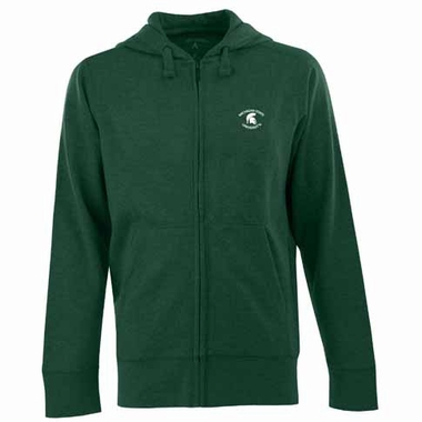 Michigan State Mens Signature Full Zip Hooded Sweatshirt (Team Color: Green)
