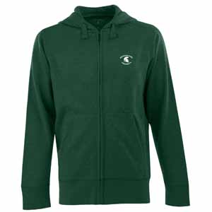Michigan State Mens Signature Full Zip Hooded Sweatshirt (Team Color: Green) - Large