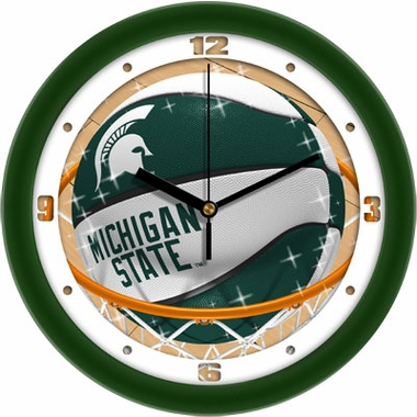 Michigan State Slam Dunk Wall Clock