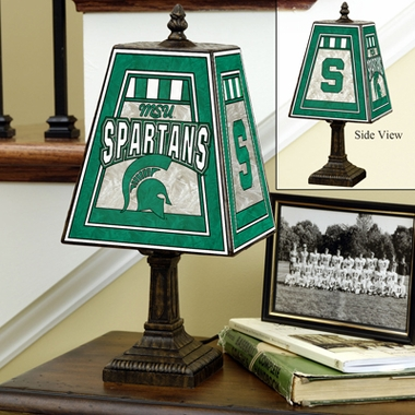 Michigan State Small Art Glass Lamp