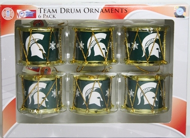 Michigan State Spartans 2012 Plastic Drum 6 Pack Ornament Set