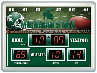 Michigan State Time / Date / Temp. Scoreboard