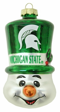 Michigan State Tophat Snowman Glass Ornament