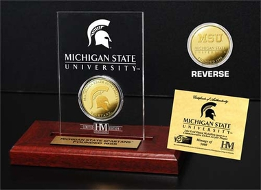 Michigan State Spartans Michigan State University 24KT Gold Coin Etched Acrylic