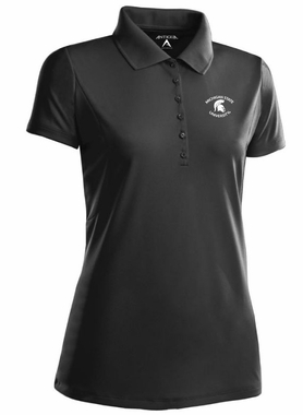 Michigan State Womens Pique Xtra Lite Polo Shirt (Color: Black)