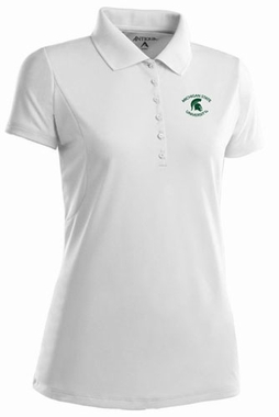 Michigan State Womens Pique Xtra Lite Polo Shirt (Color: White)