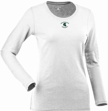 Michigan State Womens Relax Long Sleeve Tee (Color: White)
