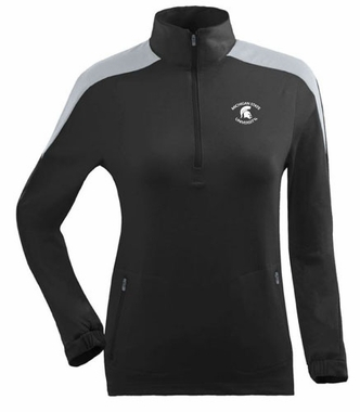 Michigan State Womens Succeed 1/4 Zip Performance Pullover (Team Color: Black)