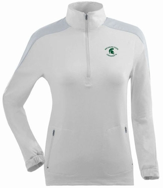 Michigan State Womens Succeed 1/4 Zip Performance Pullover (Color: White)