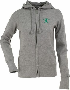 Michigan State Womens Zip Front Hoody Sweatshirt (Color: Gray)