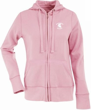 Michigan State Womens Zip Front Hoody Sweatshirt (Color: Pink)