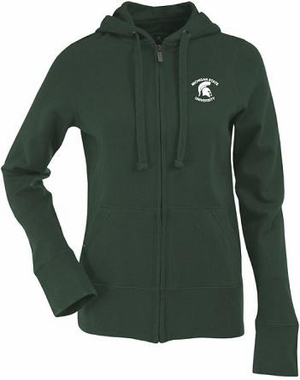 Michigan State Womens Zip Front Hoody Sweatshirt (Team Color: Green)