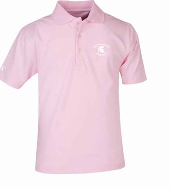 Michigan State YOUTH Unisex Pique Polo Shirt (Color: Pink)