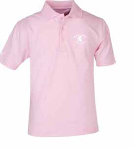 Michigan State YOUTH Unisex Pique Polo Shirt (Color: Pink) - Large
