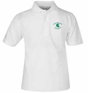Michigan State YOUTH Unisex Pique Polo Shirt (Color: White) - Medium