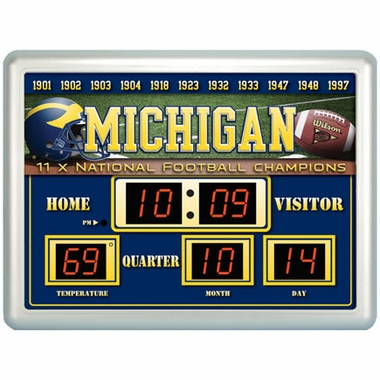 Michigan Time / Date / Temp. Scoreboard