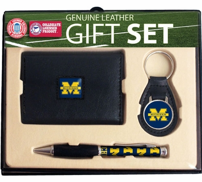 Michigan Trifold Wallet Key Fob and Pen Gift Set