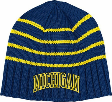 Michigan Vault Striped Cuffless Knit Hat