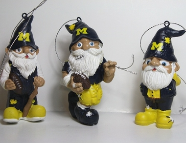 Michigan Wolverines 2012 Gnome 3 Pack Ornament Set