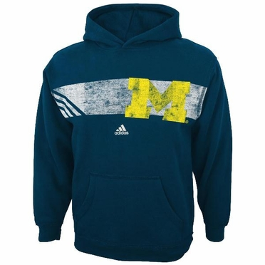 "Michigan Wolverines Adidas YOUTH ""Striped Glory"" Vintage Hooded Sweatshirt"