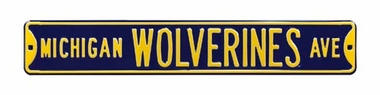 Michigan Wolverines Ave Navy Street Sign