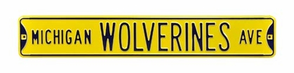 Michigan Wolverines Ave Yellow Street Sign