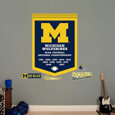 Michigan Wolverines Championships Banner Fathead Wall Graphic