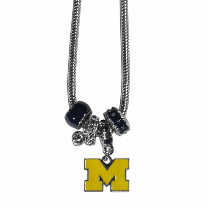 michigan wolverines bead necklace f