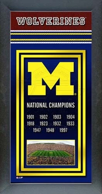 Michigan Wolverines Framed Championship Banner