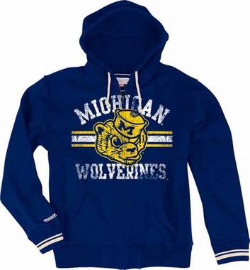 Michigan Wolverines Mitchell & Ness 2013 Vintage Full Zip Premium Hooded Sweatshirt - Navy