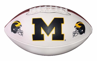 Michigan Wolverines NCAA Baden Official Size White Panel Football