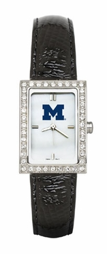 Michigan Women's Black Leather Strap Allure Watch
