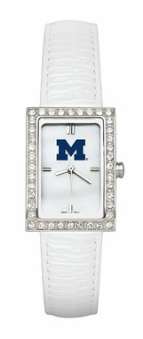 Michigan Women's White Leather Strap Allure Watch